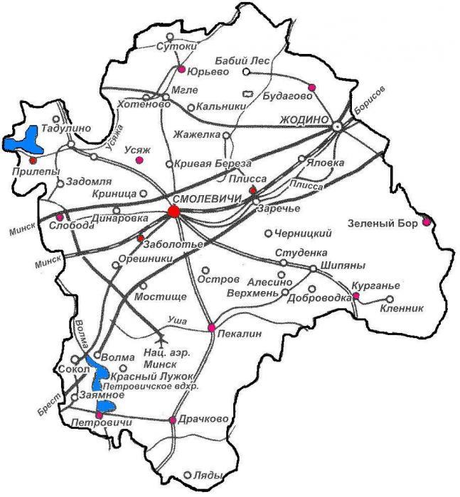 Смолевичский район, карта